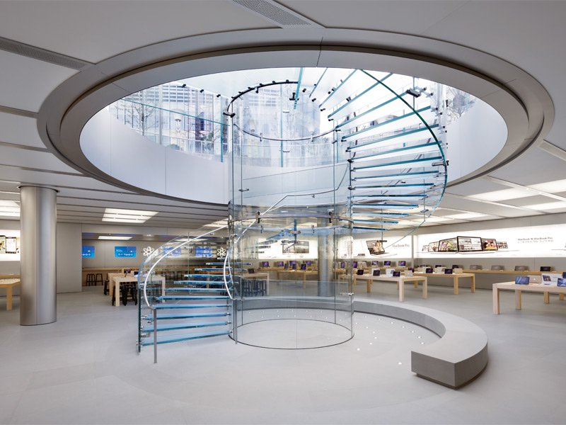 The curved glass staircase at Apple's Shanghai store has been patented for its unique design. Photograph: Superstock. Banner image: Solomon R. Guggenheim Museum, New York. Photograph: Robert Harding