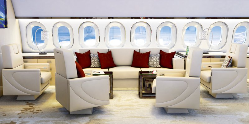 Space-savvy design is just one concern when it comes to decorating a jet interior. Image: Aeria Luxury Interiors