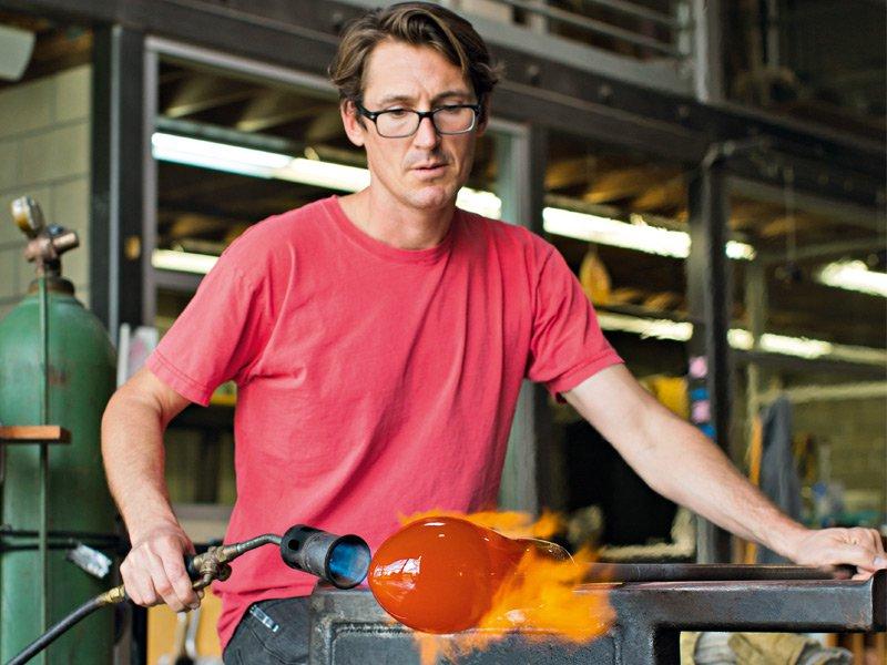 Caleb Siemon at work in his California studio. Photograph: Jessica Sample