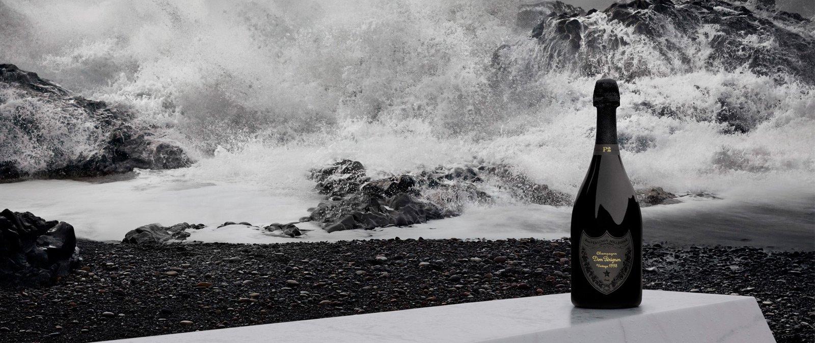 "A bottle of Dom Pérignon's ""edgy yet embracing"" P2 vintage"