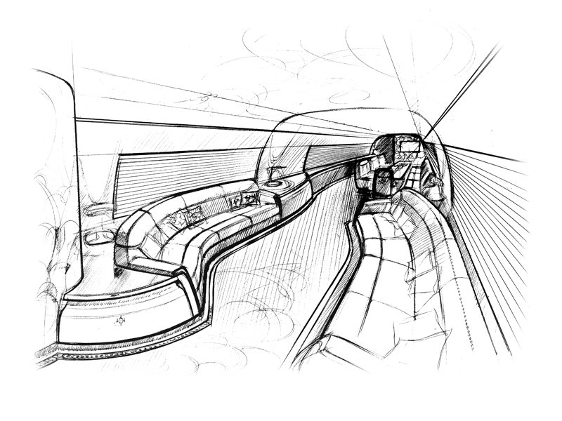 Sketches of a jet interior, as imagined by Design Q