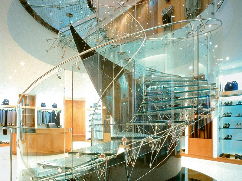 """One of Eva Jircina's trademark curving glass creations that """"allow light to penetrate deep into a building"""""""