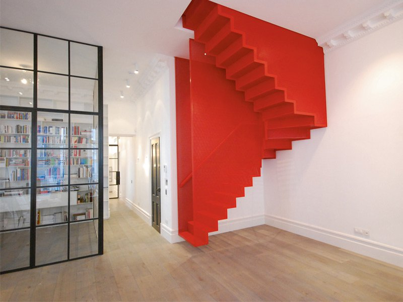 Upside down and downside up: stairs by Michaelis Boyd in a private London residence. Photograph: