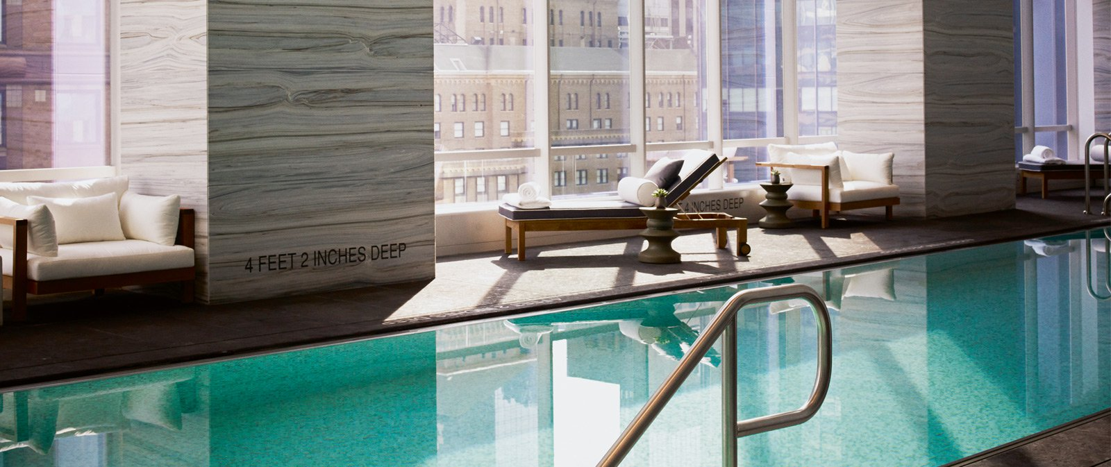 Gaze out over Midtown from the Park Hyatt New York's sensational pool and sauna room.