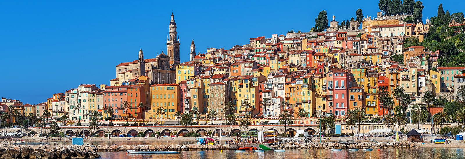 French Riviera town of Menton on the water