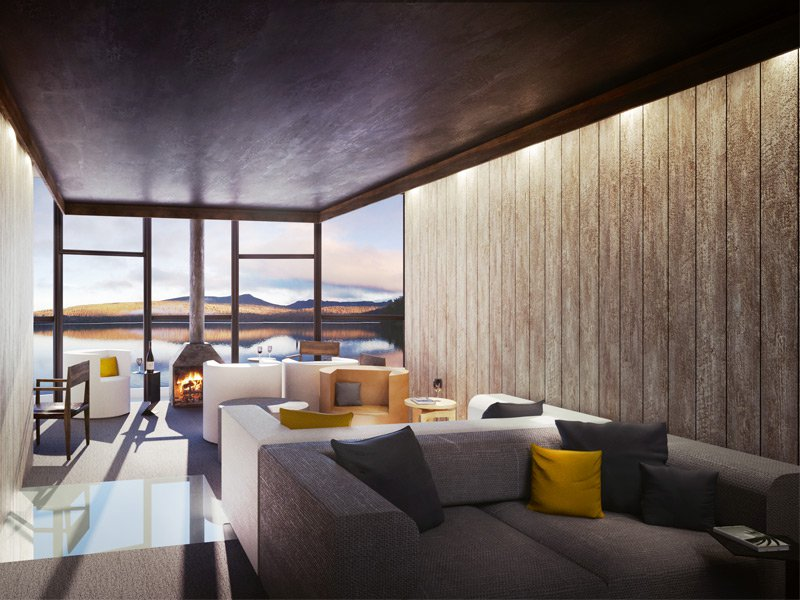 The sleek, relaxed lounge of Tasmania's premier wilderness retreat, the Pumphouse.