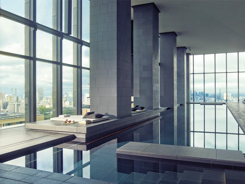 Take a dip from a great height in the Aman Spa at the Aman Tokyo hotel, which occupies the top six floors of the recently built Otemachi Tower.
