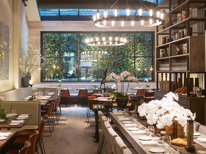 Much like her mother's villa in the Turks and Caicos Islands, Gabby Karan De Felice's chic Tribeca eatery relies on raw and natural materials to create a polished look.