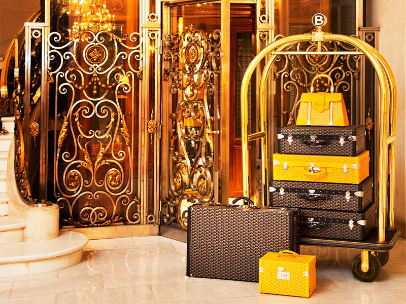 From the Grimaldis to Kanye West, luxury Parisian trunk maker Goyard has catered to royal and celebrity clients throughout its 160-year history. Photograph: Goyard at Hotel Le Bristol, Paris.