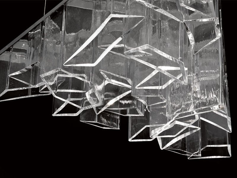 "Daniel Libeskind's Ice Chandelier for Lasvit, made of hand-blown glass ""cells"", was unveiled at the 2014 Milan furniture fair. Photograph: Lasvit"
