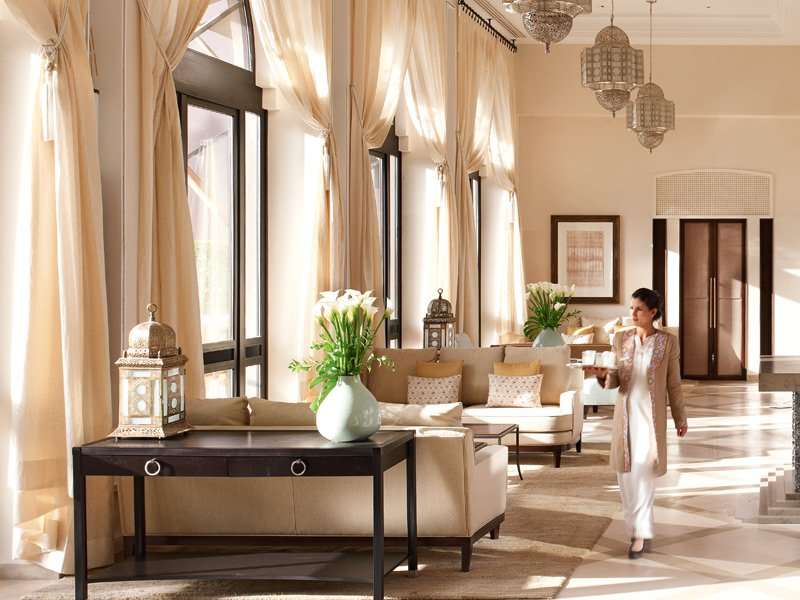 The Four Seasons' sleek interior and five-star service make it one of the premier hotels for guests traveling to bustling Marrakech.