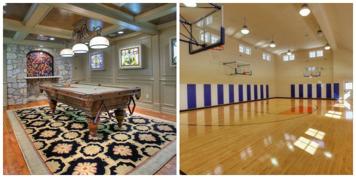 Luxurious features include: a movie theater, basketball court, a billiards room that leads to the wine tasting room, wine cellar and wine bar.