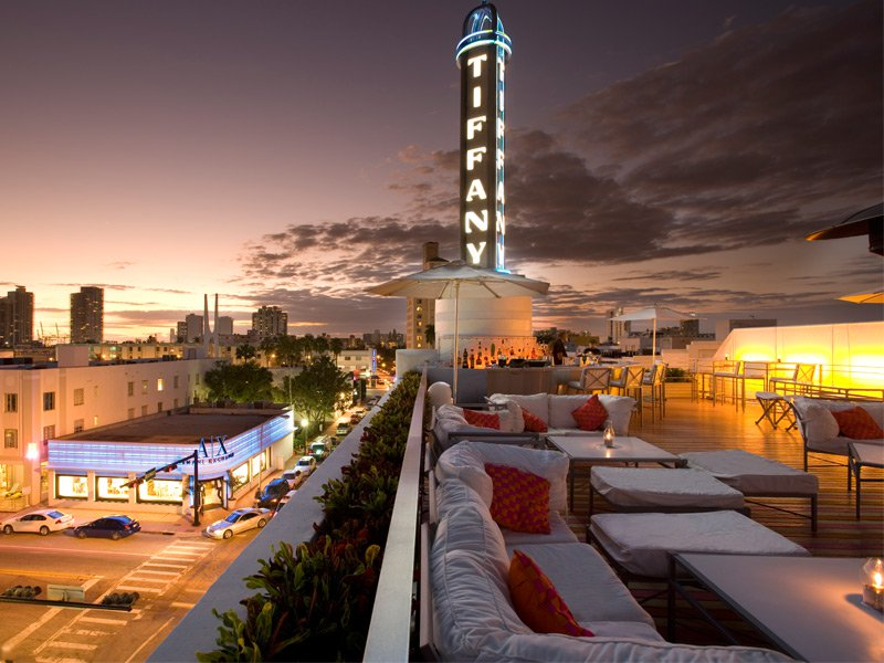 The Hotel of South Beach, with its Tiffany lighted spire. Photograph: SpireAX