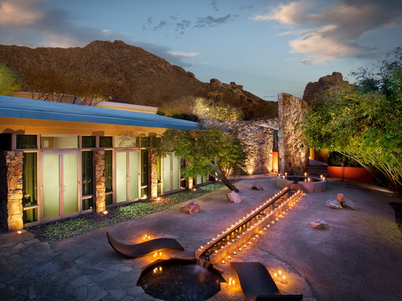 The Sanctuary Spa offers an extensive menu of Asian-inspired services in 12 indoor and outdoor treatment rooms. Or you can relax in the tranquil Zen garden, with stunning views of Camelback Mountain as a backdrop. Photograph courtesy of Scottsdale Convention & Visitors Bureau.
