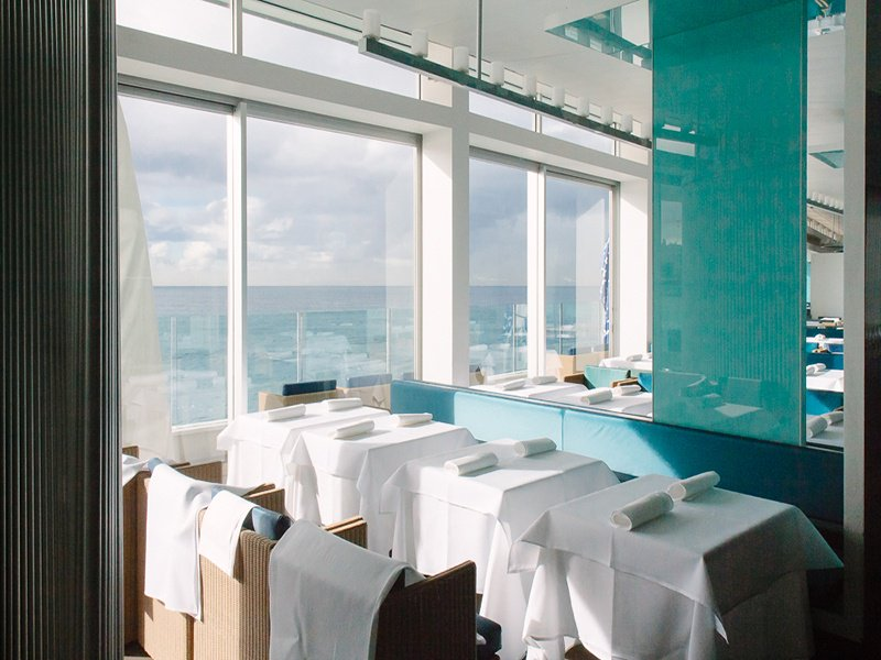 The view of Bondi Beach provides a spectacular backdrop to the understated style of Icebergs Dining Room in Sydney. Photograph: © Amber Melody