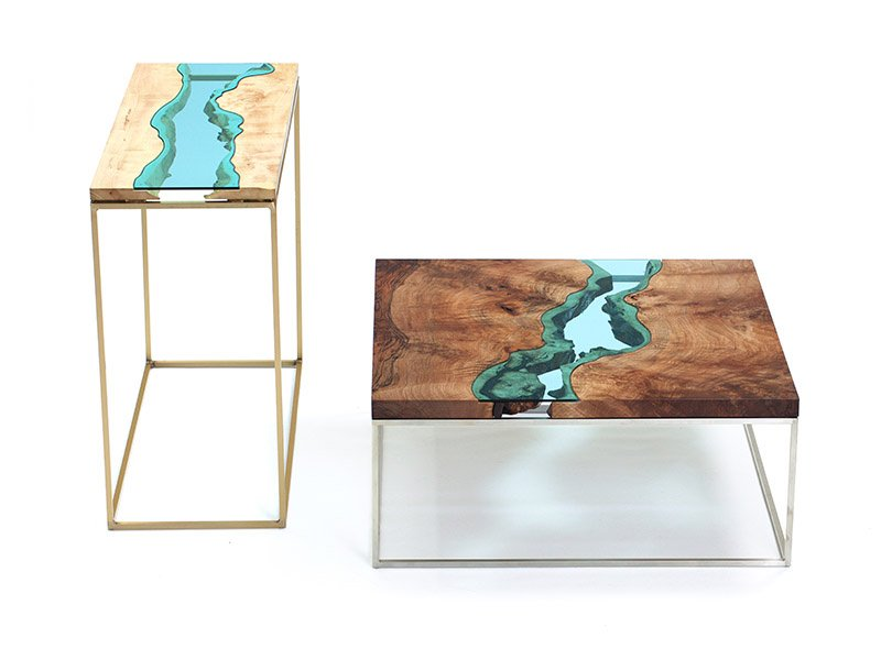 The maple and bronze river console and walnut river coffee table are part of Greg Klassen's River Collection. Each piece is inspired by the grains of the trees found on the banks of Washington state's Nooksack River.