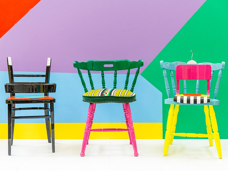 Yinka Ilori is passionately against the unnecessary waste he has seen in European and West African consumer cultures so he creates pieces from reused discarded furniture and other found objects – all with a fun, provocative twist. Photograph: Veerle Evens