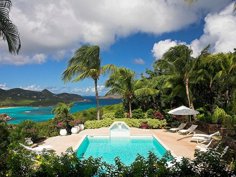Colonial Villa Ado is set high on the hillside above St Jean, ensuring striking ocean and sunset vistas.