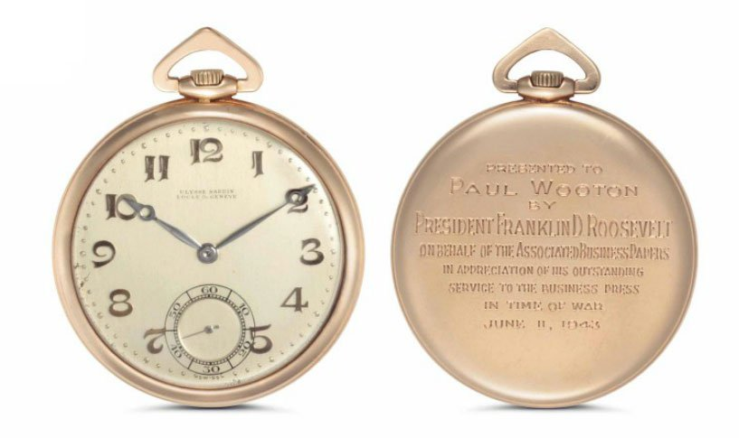 Ulysse Nardin (1928) A fine and historically important 14k pink-gold open-face pocket watch, presented by President Franklin D. Roosevelt, realized $13,750 at Christie's Rare Watches and Exceptional Complications last year.