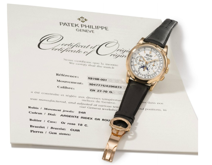 A Patek Philippe Reference 5970 perpetual calendar chronograph wristwatch in pink-gold with moon-phase displayPrice: $80,000 – $120,000