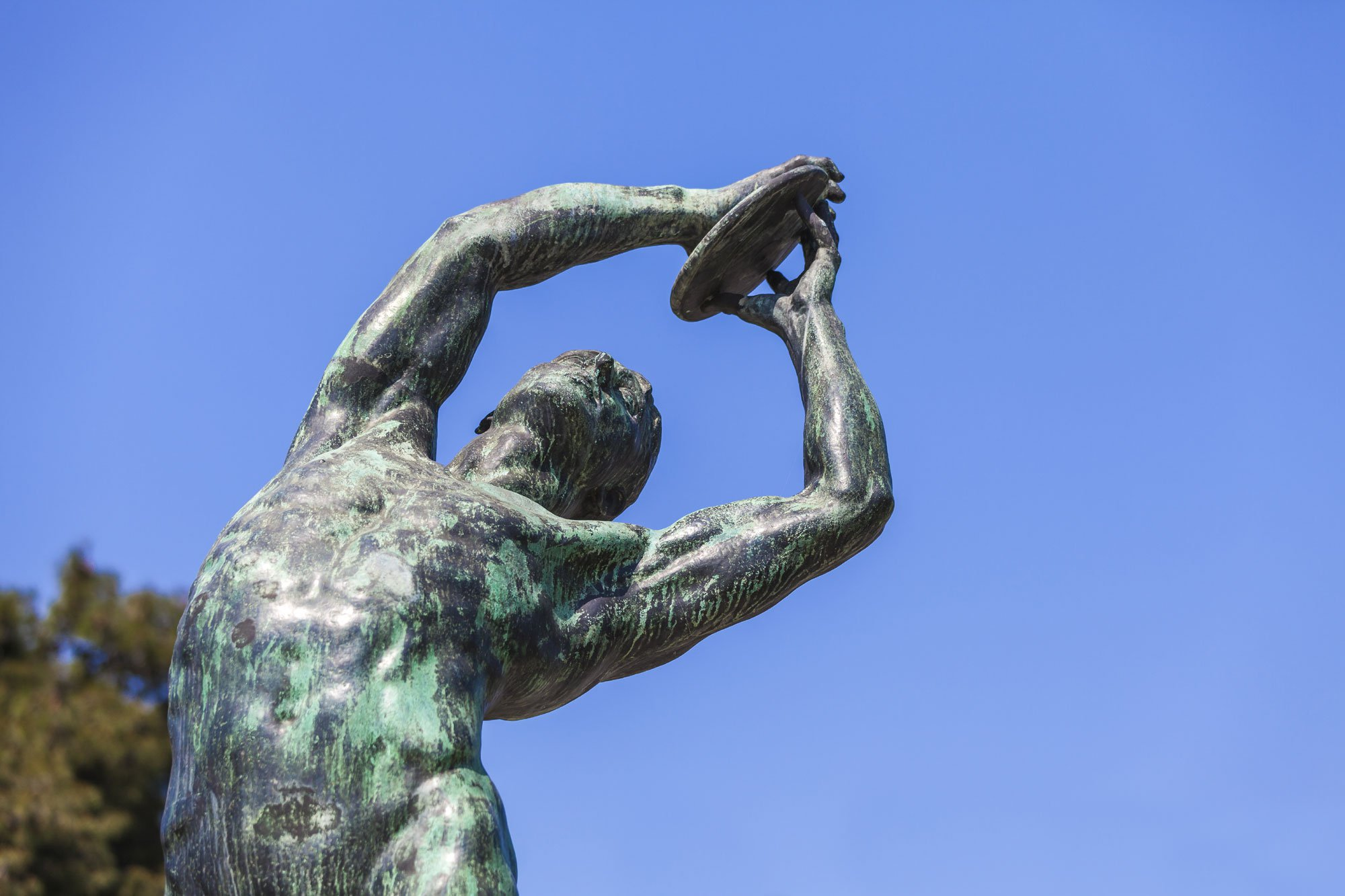 Bronze discobolus from the Panathenaic Stadium in Athens, host of the first modern Olympic Games in 1896.