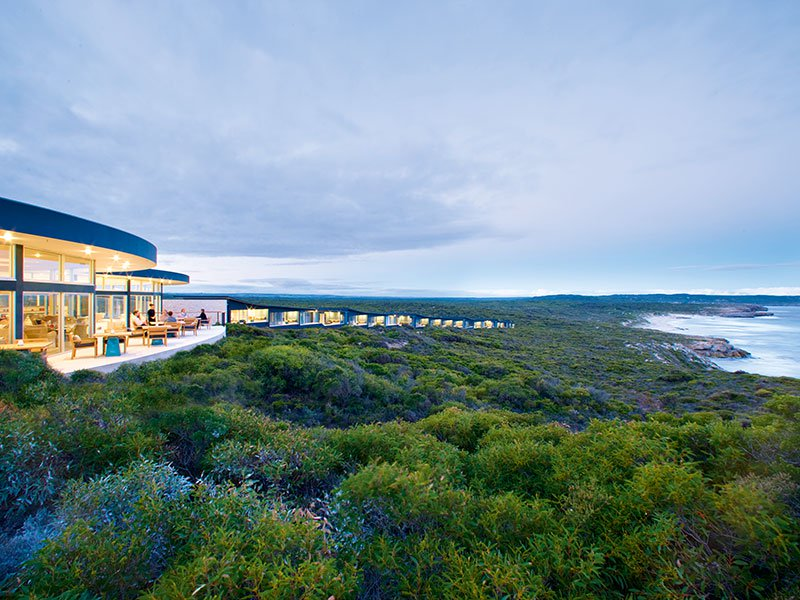 Locally sourced materials and a design sympathetic to both climate and culture help ensure luxury hotel the Southern Ocean Lodge fits seamlessly into its island landscape. Photograph: George Apostolidis