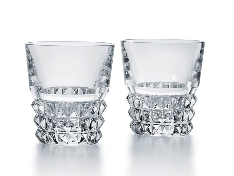 Designed by Thomas Bastide, Baccarat's Louxor tumblers have diamond-shaped surfaces and inside ruffles.