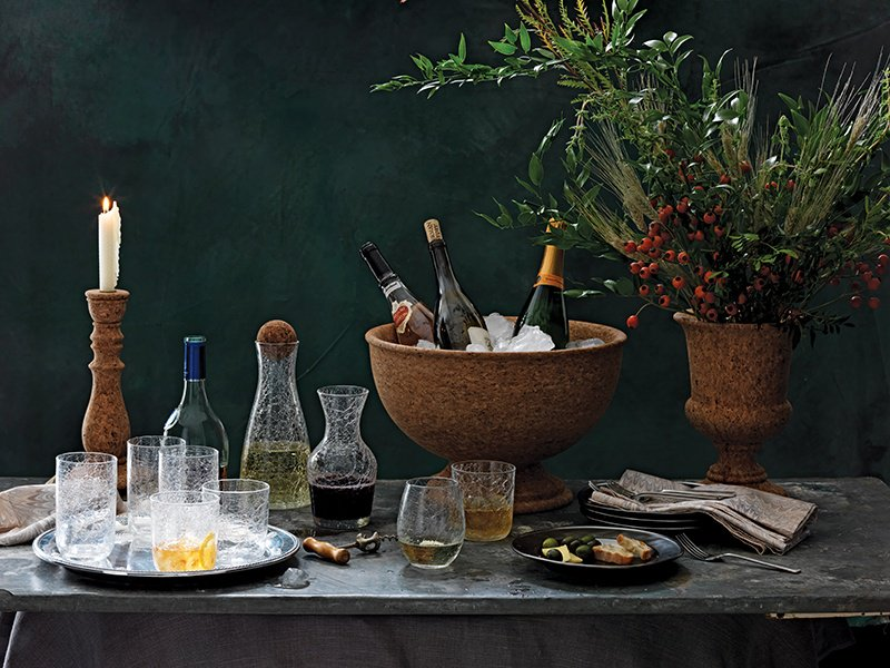 Juliska's Hugo range has the shimmer of seemingly splintered glass and includes wine carafes, highball glasses, and stemless wine glasses.