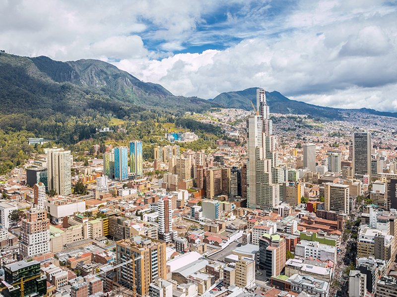 Bogotá, the second highest capital city in the world, is an intriguing mix of skyscrapers and incredible scenery. Photograph: Getty Images