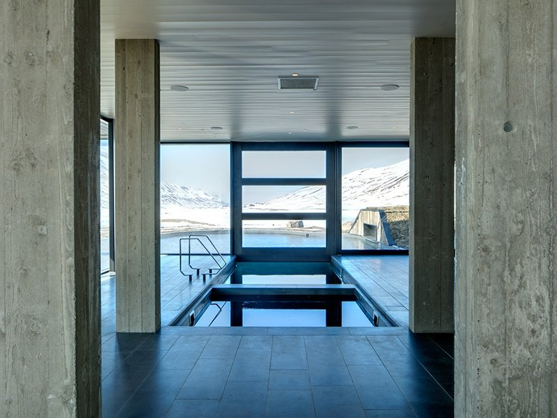 Deplar Farm offers jaw-dropping views of both the Icelandic mountains and the sea from floor-to-ceiling windows throughout the complex.