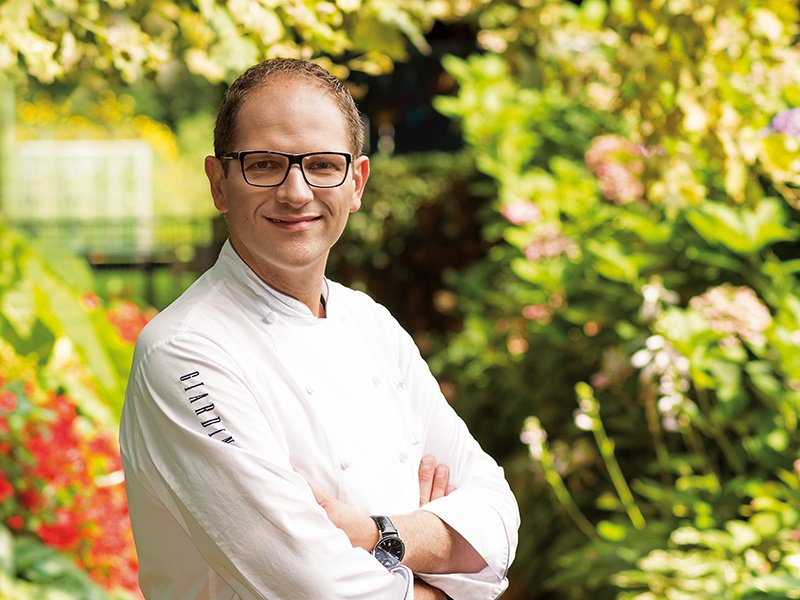 The dramatic fall scenery of the Upper Engadin Valley (banner image) is one source of inspiration for Michelin-starred chef Rolf Fliegauf, who makes the most of seasonal ingredients. Photograph: Giardino Group. Banner: Swiss-image.ch/Daniel Martinek