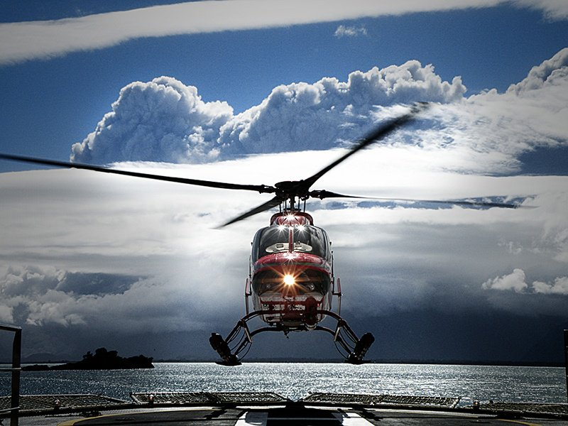 Two Bell 407 helicopters are available to ferry guests from the Atmosphere to the virgin slopes.