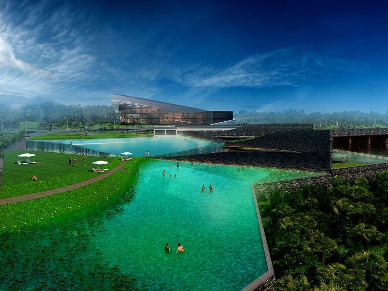 A render of Atelier Alter's design for the Xinglong Resort. The aim was to create a unique, ecological hot spring resort, featuring a wave-shaped wall that breaks the site into areas of different sizes.