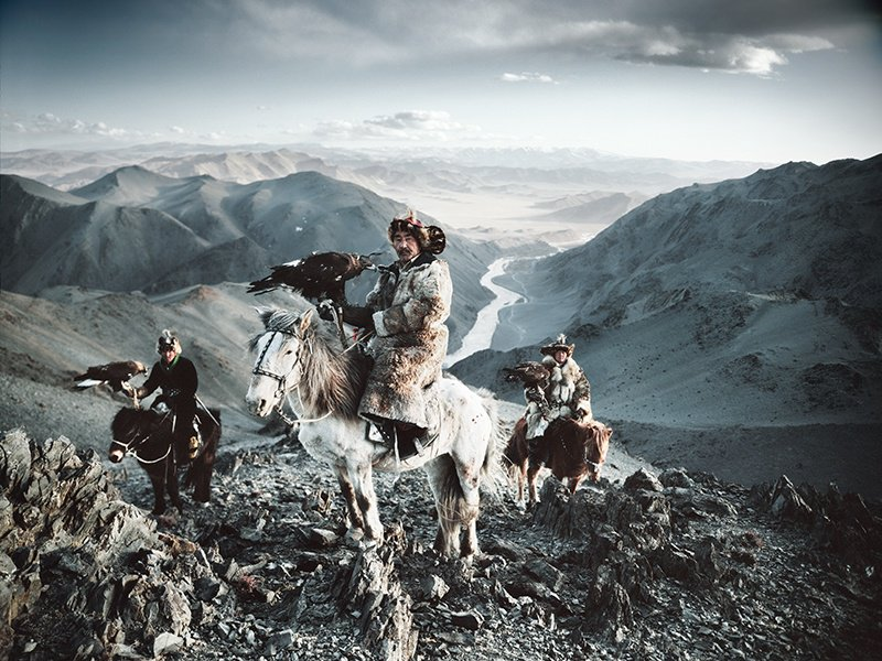 Jimmy Nelson captured the Kazakhs of Altantsögts, in the Bayan-Ölgii province of western Mongolia, hunting with eagles. A print of this photograph sold at Christie's, London, in May 2016 for £11,250/US$16,425. Photograph: © Jimmy Nelson Pictures BV