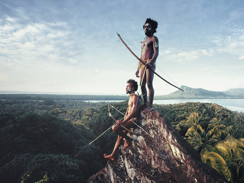 Vanuatu warriors on the Rock of Rah, on the lava island of Rah in the remote South Pacific Vanuatu Islands, photographed by Jimmy Nelson for his Before They Pass Away series. Photograph: © Jimmy Nelson Pictures BV