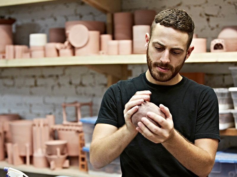 """""""I'm always experimenting to achieve new forms and functions,"""" says ceramicist Ben Medansky."""