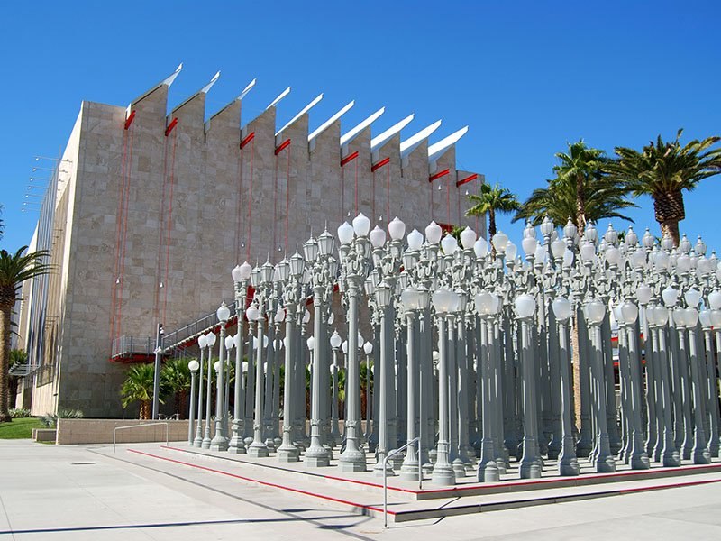 The Los Angeles County Museum of Art, or LACMA, is an LA institution. Banner image: Urban Light by Chris Burden, outside LACMA, comprises 202 restored street lamps from the 1920s and 1930s. Photographs: Getty Images