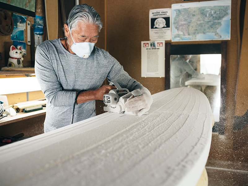 Guy Okazaki moved from making boards to a more artistic board-shaping role nine years ago. Photograph: Brian Ferry