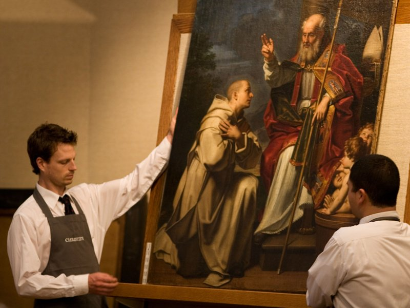 Christie's holds auctions dedicated to the Old Masters. Seen here is Saint Nicholas with the three school children and a Carthusian monk (year unknown) by Michele di Giovanni Desubleo (1602-76), part of an Old Master Pictures sale. Photograph: Alamy