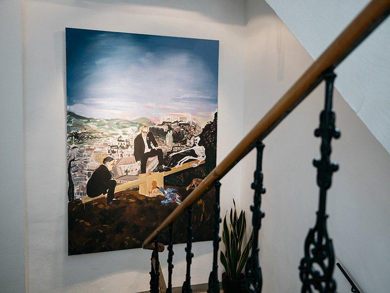 Deutschbauer/Spring: Jedermanns Mozart in der Blauen Gans  (2006) pops against the hotel's historic minimalist walls. Photograph: artHotel Blaue Gans