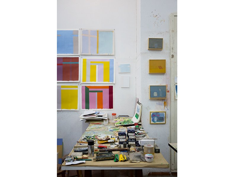 """Even if he does not paint every day, Pasta visits his studio to view his in-progress pieces, as """"this is what makes the work evolve."""" Photograph: André Klotz"""