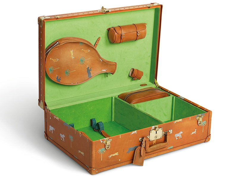 This calf-leather Louis Vuitton Alzer suitcase was created by Marc Jacobs in 2007 especially for Wes Anderson's movie The Darjeeling Limited.