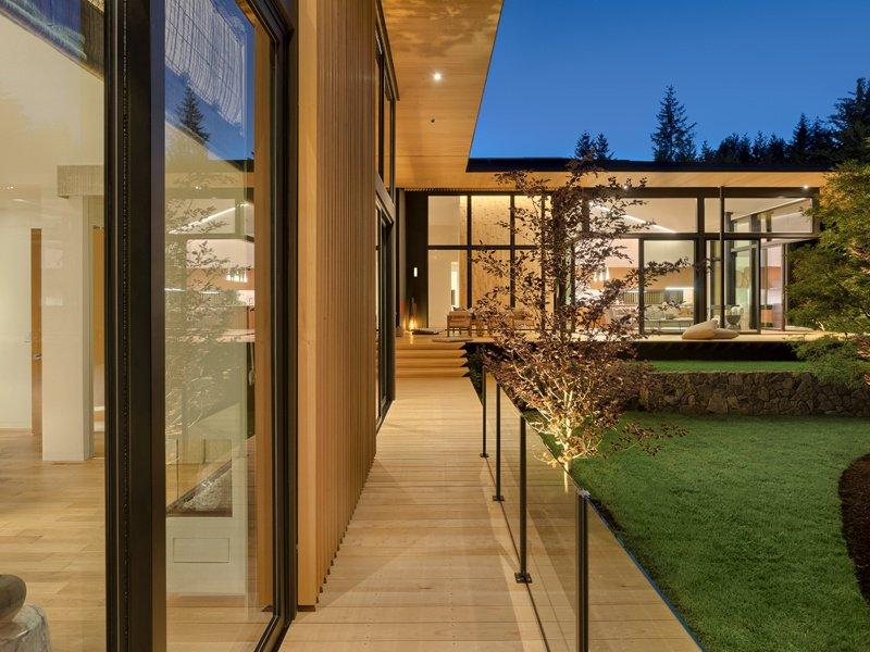 A deck, or <i>engawa</i>, runs the length of the home and borders a garden designed by Sadafumi Uchiyama, curator of the Portland Japanese Garden.