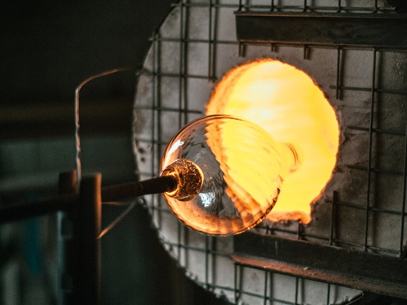 Glassblowing artists must have finely tuned skills, steady hands, and high tolerance for heat. Photograph: Alexander J Collins
