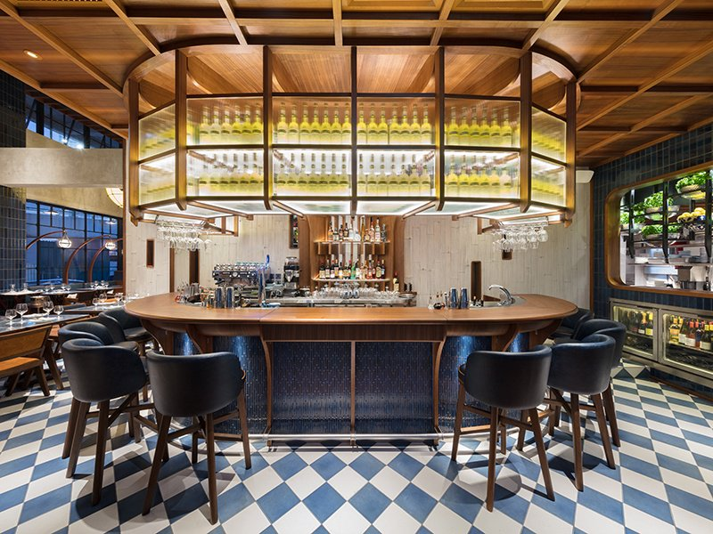 The Osteria Marzia bar and restaurant at The Fleming in Hong Kong mirrors the elegant nautical theme found throughout the hotel, and is the ideal spot for a cocktail before enjoying an Italian-inspired dinner.