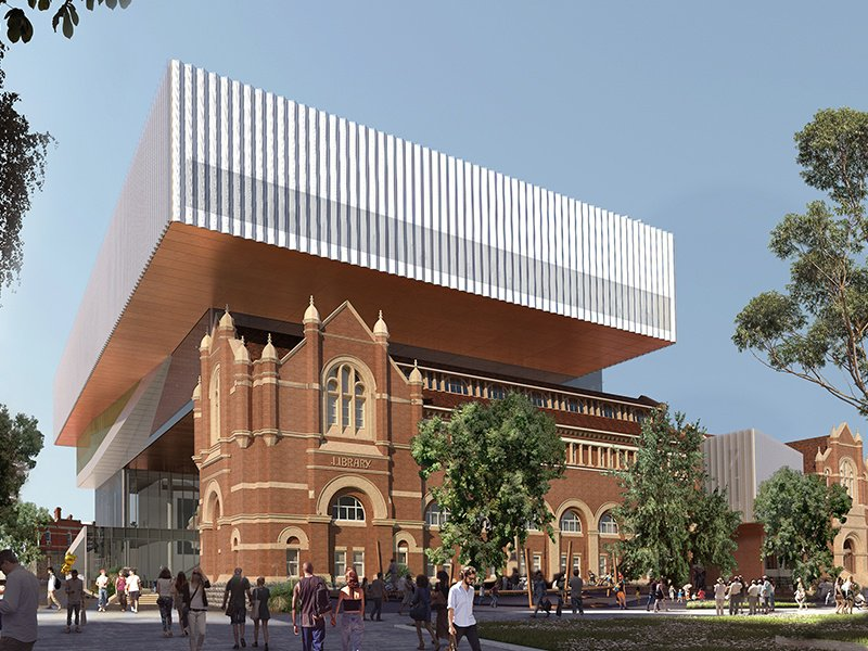 The New Museum for Western Australia in Perth will be nearly four times larger than its predecessor, the Western Australia Museum. Its glazed structure will be nestled between restored 19th-century buildings, with a public square in the middle of the structures to create a sprawling cultural site. Image: ©WA Museum. Render courtesy Muliplex, HASSELL+OMA