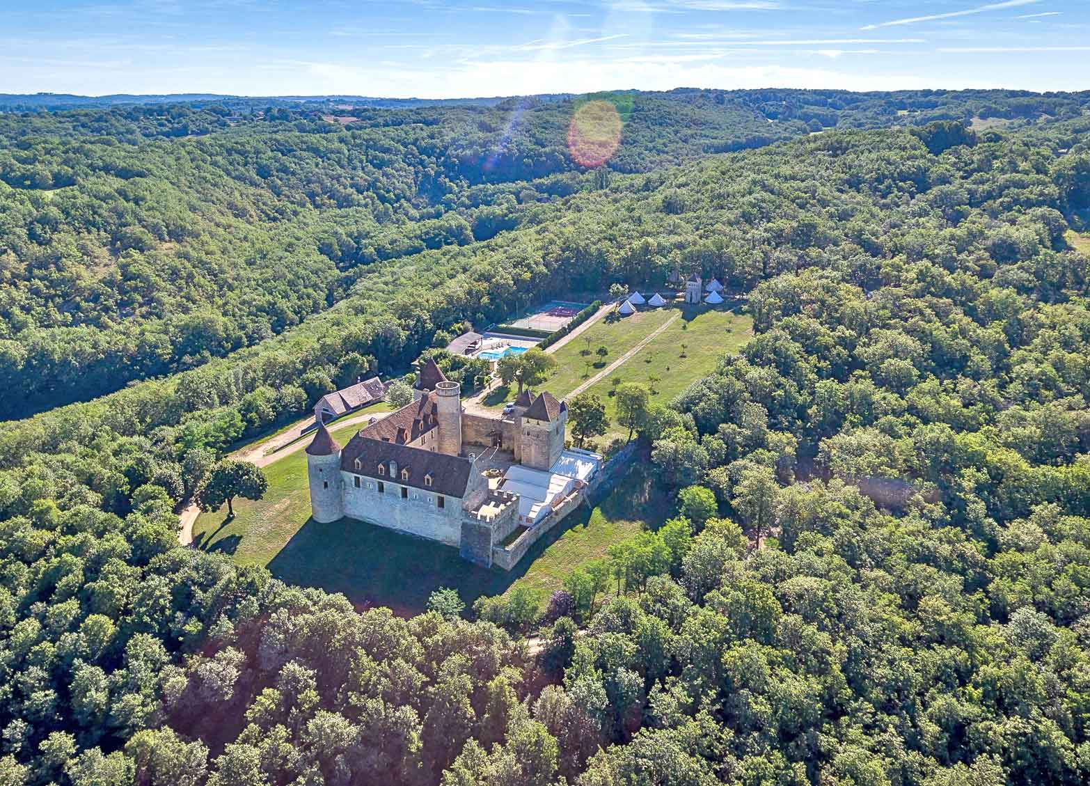 Sitting on top of a hill with stunning panoramic views over the surrounding countryside, this château has origins dating back to the 14th century.