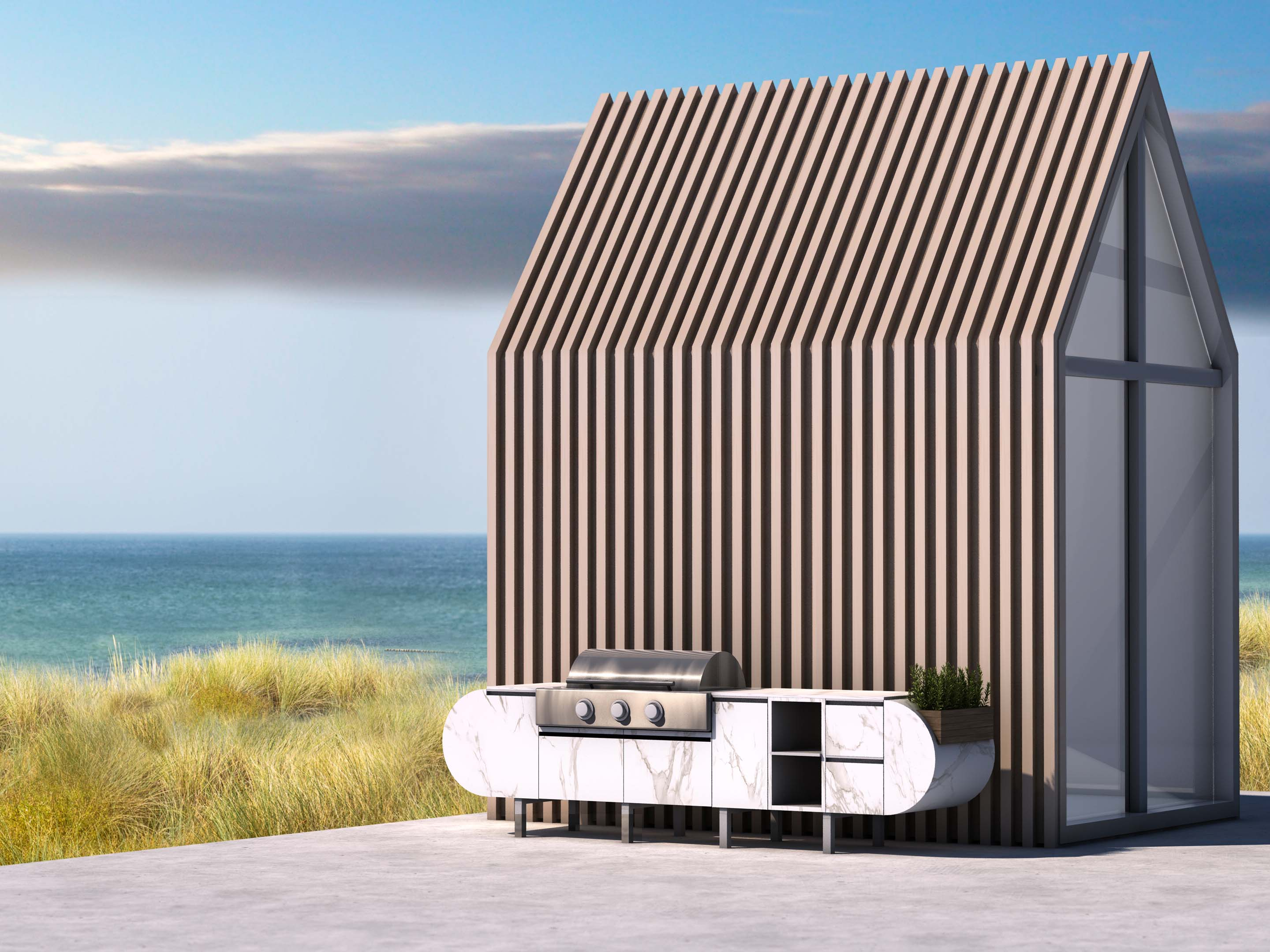 Whether the outdoor space is small or large, the ASA-D2 modular kitchen marries function and stylish form.