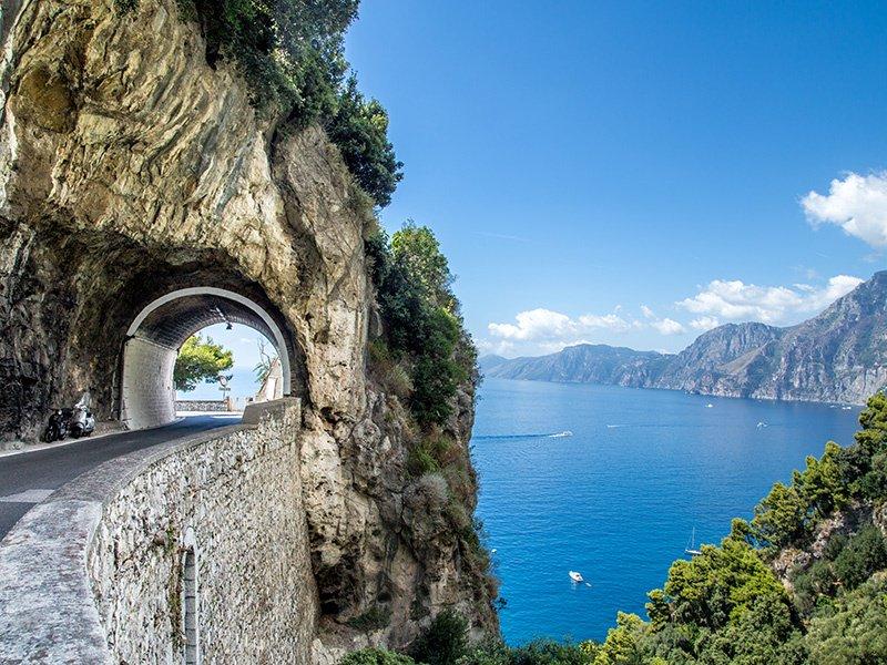 The Amalfi Drive, or Strada Statale 163, runs along the stretch of theAmalfi Coastbetween the southernItaliantowns ofSorrentoandAmalfi. Photograph: Getty Images