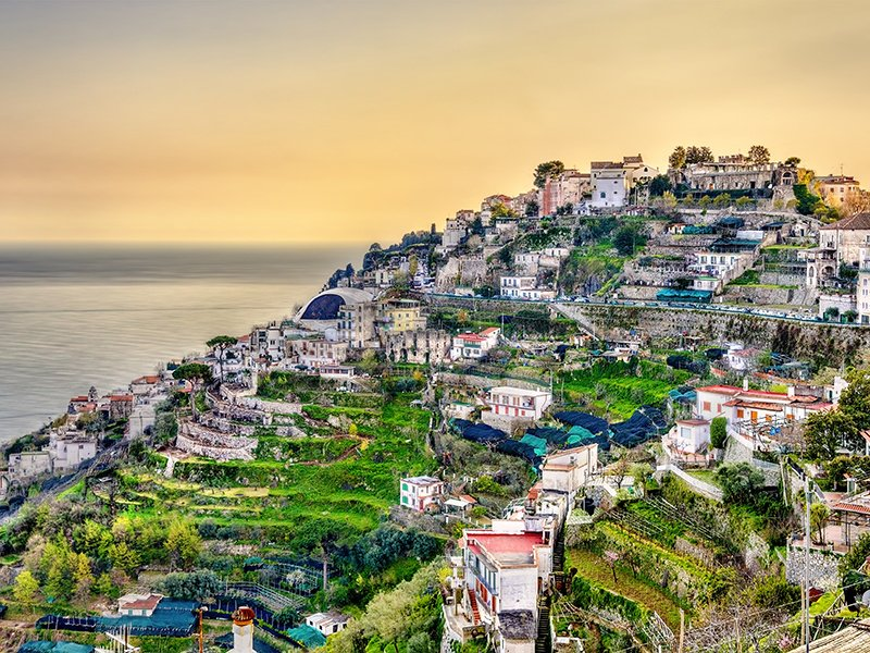 The town of Ravello, known as the jewel of Amalfi, sits 1,200 feet (366 m) above the ocean and is home to the famous Villa Rufolo, with its exquisite garden and awe-inspiring views. Photograph: Shutterstock